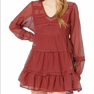 NWT Free People Mangosteen Long Sleeve Mini DRESS